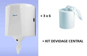 Kit distributeur dévidage central + 18 bobines 450 formats (3 cartons de 6)